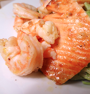 Grilled Salmon with Shrimp, A Mediterranean Diet Treat