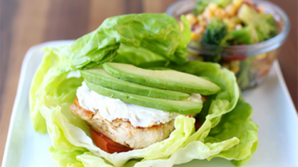 Lettuce-Wrapped Chicken Burger with Avocado and Tomato