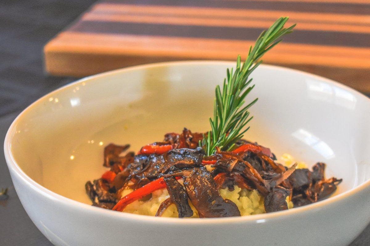 Cauliflower Mash With Roasted Balsamic Portobello Mushroom Melange